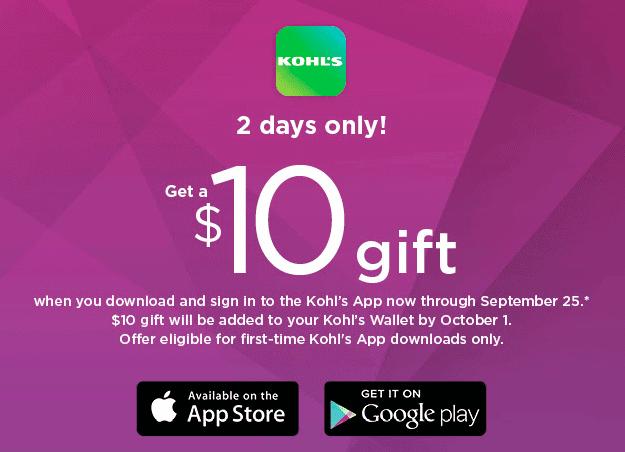 Kohl's app freebie