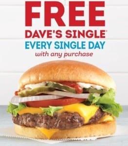 Wendy's Dave's Single free burger coupon