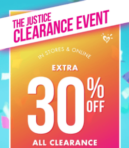 Justice clothing store promo code