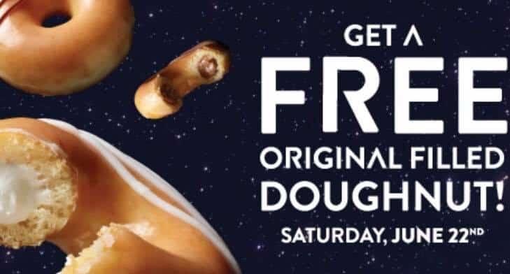 Krispy Kreme free original filled doughnut on 6/22