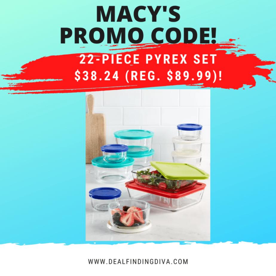 macy's promo code pyrex sale
