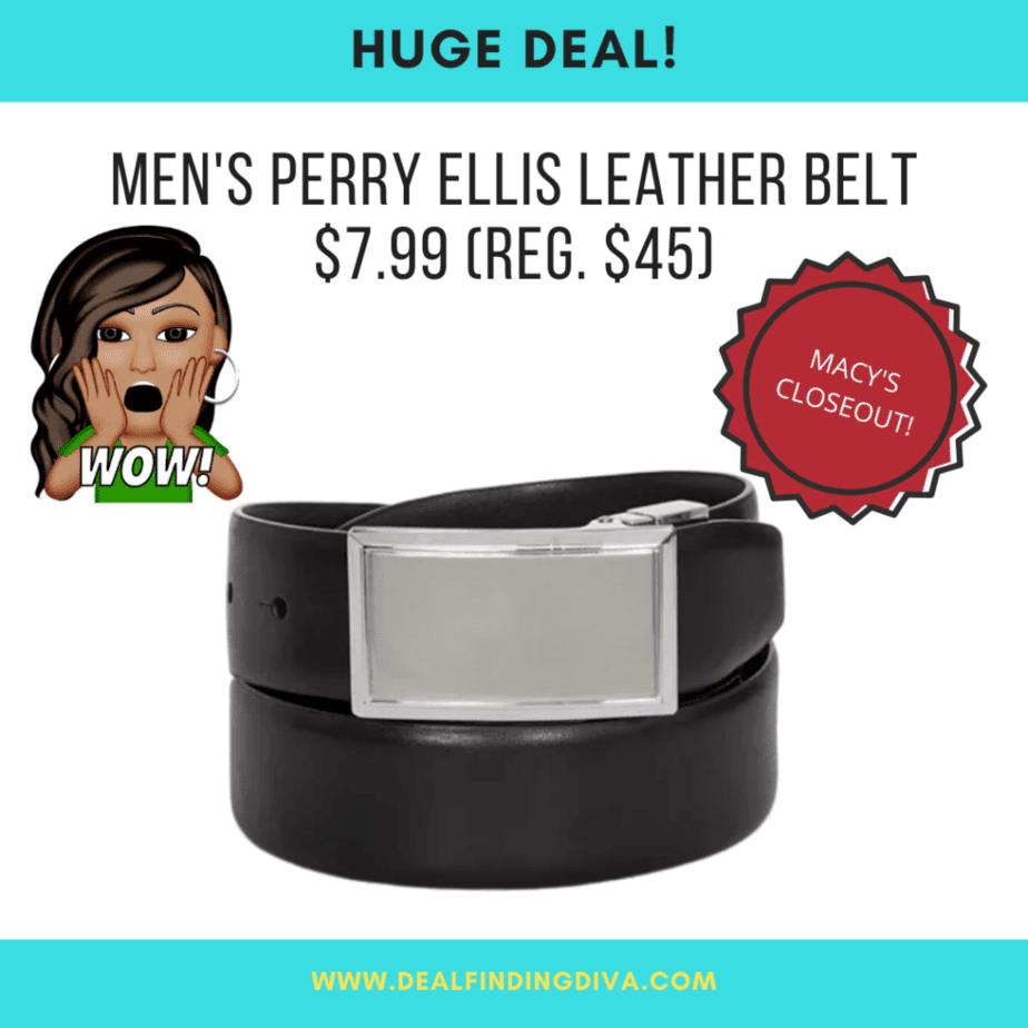 perry ellis men's leather belt