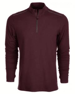 men's pullover zip burgundy