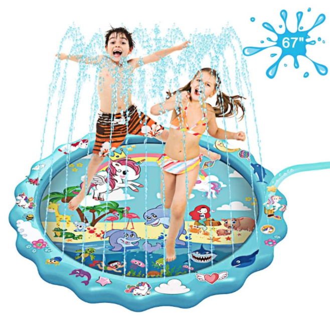 kids inflatable pool with sprinkler