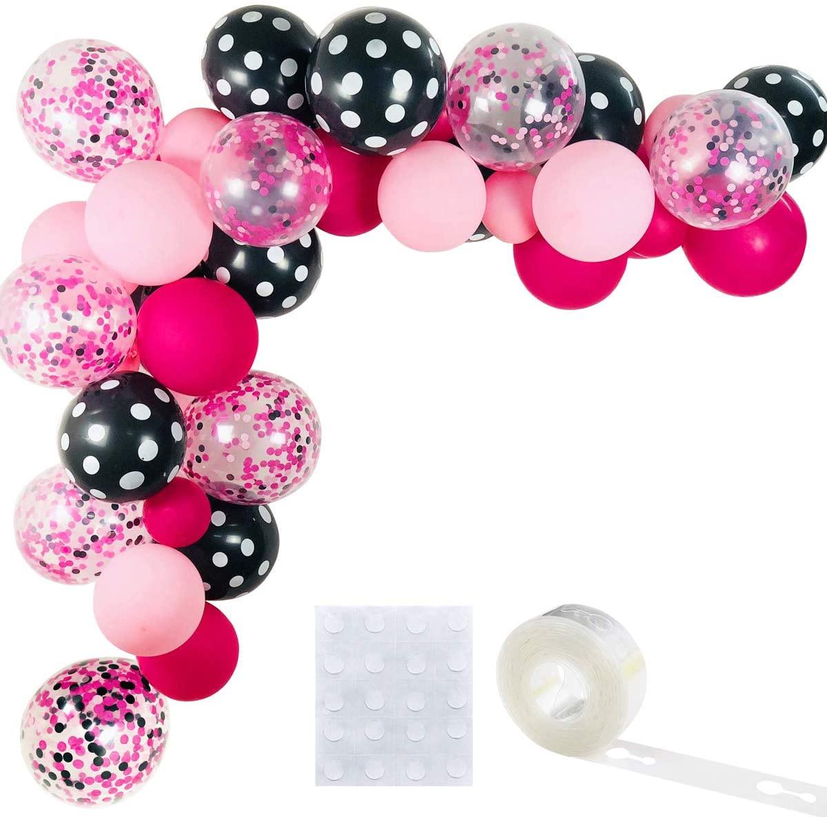 black pink balloon garland