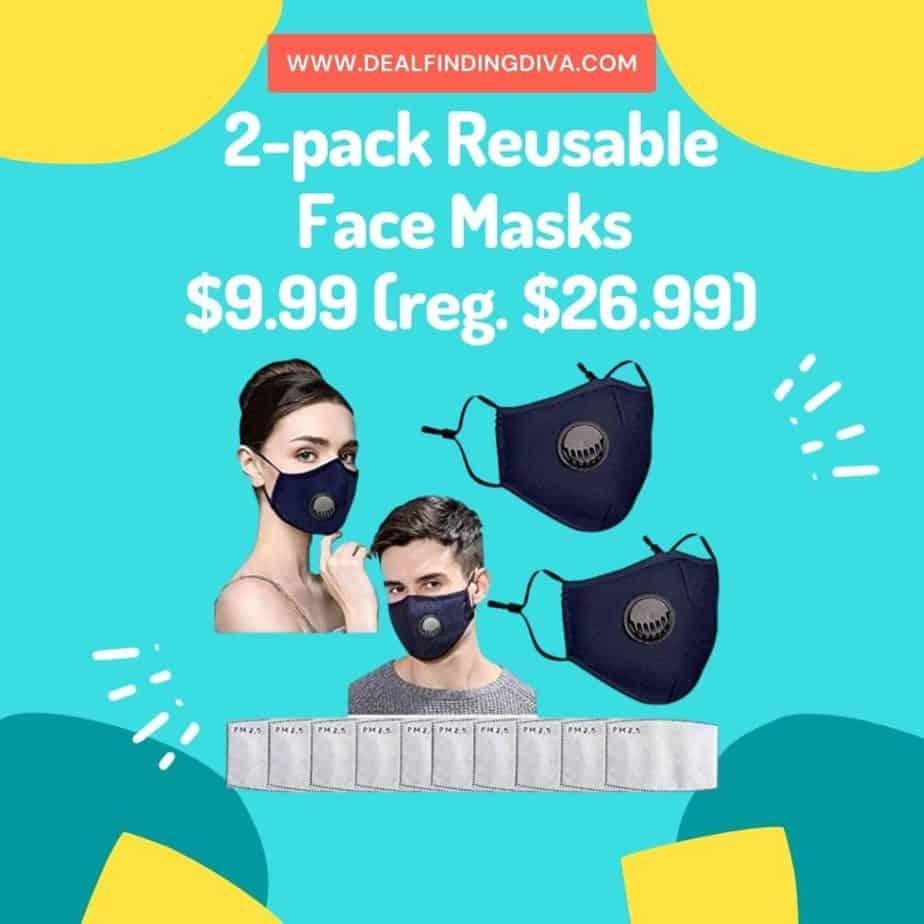 reusable face masks 2-pack sale